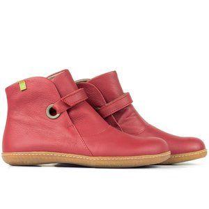 El Naturalista Red Leather Ankle Boots El Viajero